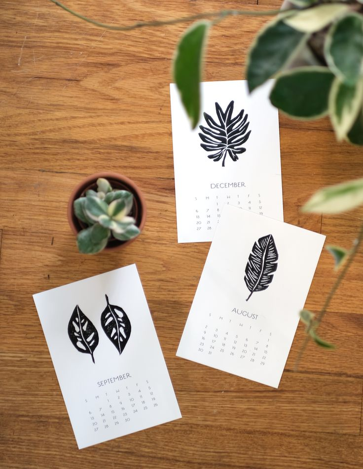 Block Print Leaves Calendar Block print, Print calendar