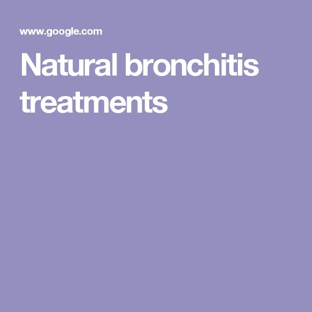 Natural bronchitis treatments