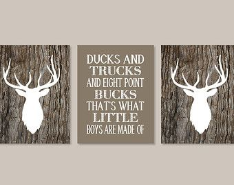 Baby Boy Nursery Decor Deer Antler Rustic Nursery Country Nursery Quote Set of 3 Prints Boy Playroom Boy Bathroom Camo Camouflage Bedroom
