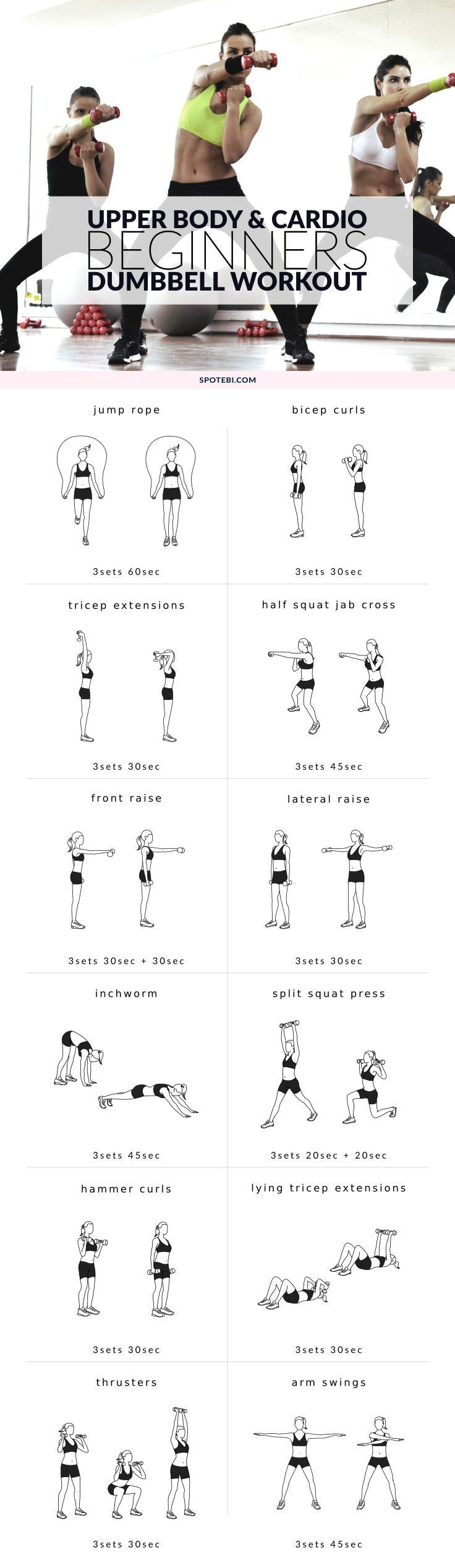 Upper Body and Cardio Beginner Dumbbell Workout | Posted By: NewHowToLoseBellyFat.com