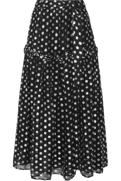 Dodo Bar Or's skirt is cut from lightweight georgette that's woven with silver fil coupé polka-dots. Designed to sit at the smallest part of your waist, this tiered, ruffle-trimmed design has loops for the optional self-tie belt. It's fully lined so you can wear it into the evening after a day at the beach - try it with the matching blouse.