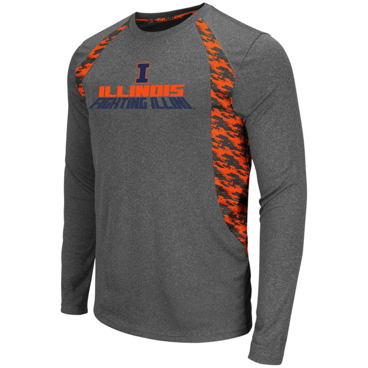 Illinois Fighting Illini Colosseum Oil Slick Long Sleeve T-Shirt - Charcoal