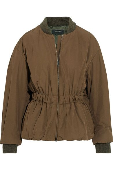 Army-green shell Concealed two-way zip fastening through front 100% polyester; trim: 90% wool, 8% polyamide, 2% elastane; lining: 100% cupro Dry clean
