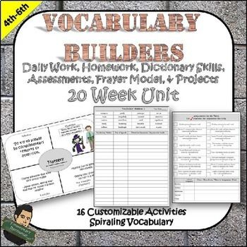 Vocabulary Builders 20 Week Unit...Each week, your students will be exposed to 20 vocabulary words that are synonyms for words they use every day. Each week, similar words start to repeat and the students' vocabulary will begin to build. Throughout the year, you'll see your students' vocabulary take off! There are 16 possible activities for each week along with a class work and homework planner. Frayer Model Word Organizers Synonyms Sentence development Dictionary skills