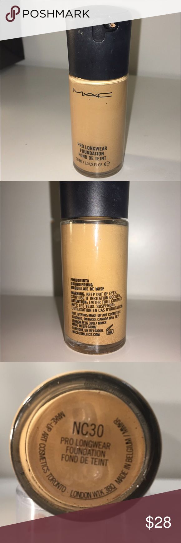Mac Pro longwear foundation NC30 AUTENTIC AUTENTIC Mac Pro longwear foundation in shade Nc30 it is to dark for me. I used it 3 times only so it is 90% full. No box. MAC Cosmetics Makeup Foundation
