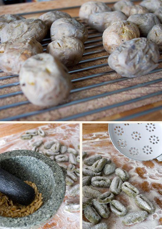 Basilikum-Gnocchi mit Pinienkernbutter
