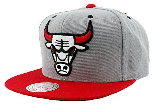best service 64b4e 433b4 Chicago Bulls Hat SPECIAL Custom Undervisor Authentic NBA Mitchell   Ness  XL Logo Snapback Cap Gray   Red Basketball Cap Adult One Size Unisex Men    Women ...