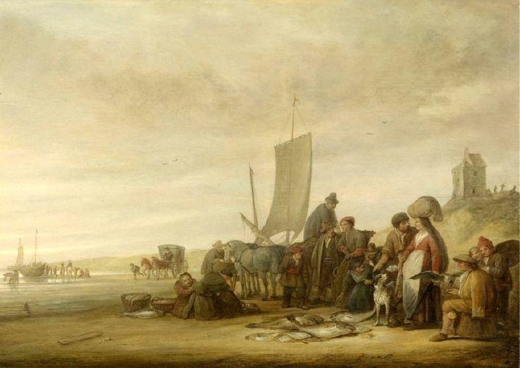 Simon Jacobsz. de Vlieger (ca. 1601-1653). Visverkoop op het strand.