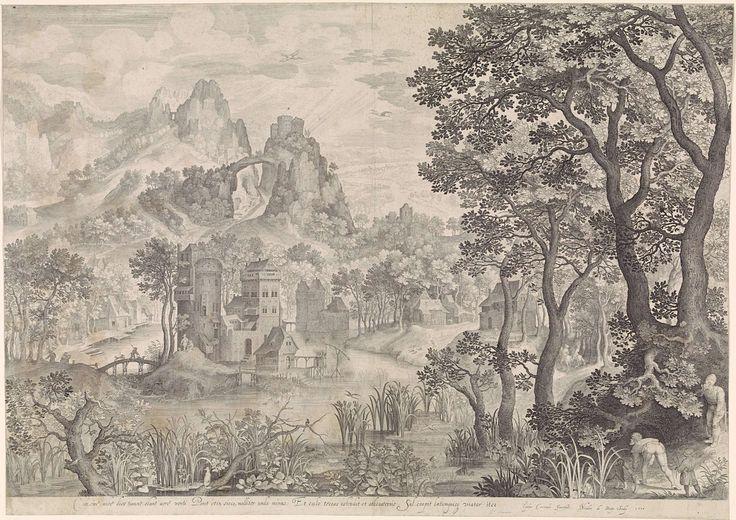 Nicolaes de Bruyn | Landschap met eendenjacht, Nicolaes de Bruyn, 1600 | Berglandschap met een kasteel. Op de rechtervoorgrond twee mannen die jagen op watervogels.