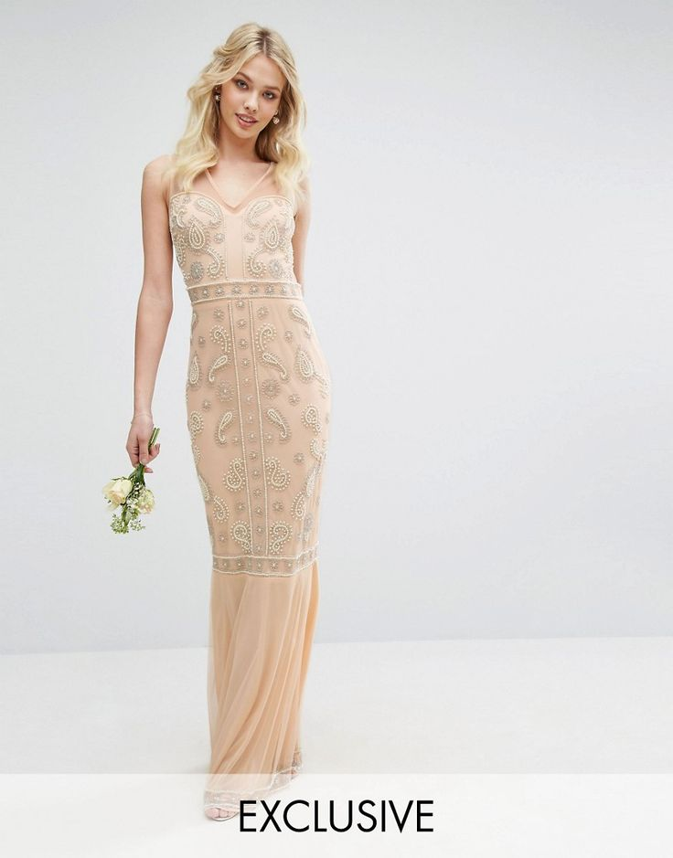 1920s Dresses for Sale in the UK Maya Embellished Maxi Dress with Fishtail - Nude £125.00 AT vintagedancer.com