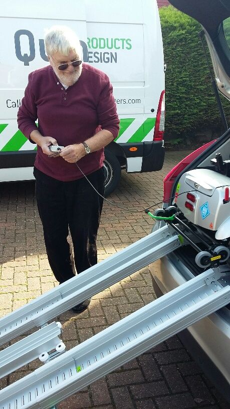 Mr Wade enjoying the easy loading & unloading of his Flyte mobility scooter get your demo here http://contact.quingoscooters.com/social-mobility-scooters