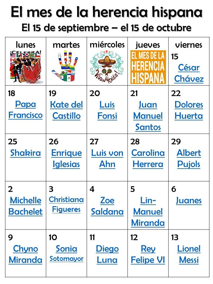 Hispanic Heritage Month Famous Hispanic For Each Day Digital
