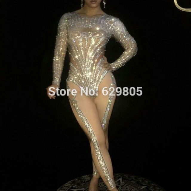 Sparking Crystals Jumpsuit Stage Wear Costume Bling Rompers Women's Outfit Silver Bodysuit Birthday Celebrate Clothing Bosdysuit