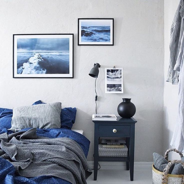 Blue interior inspired by the ocean by @nordenbergers with framed posters from printler.com, the marketplace for photo art.