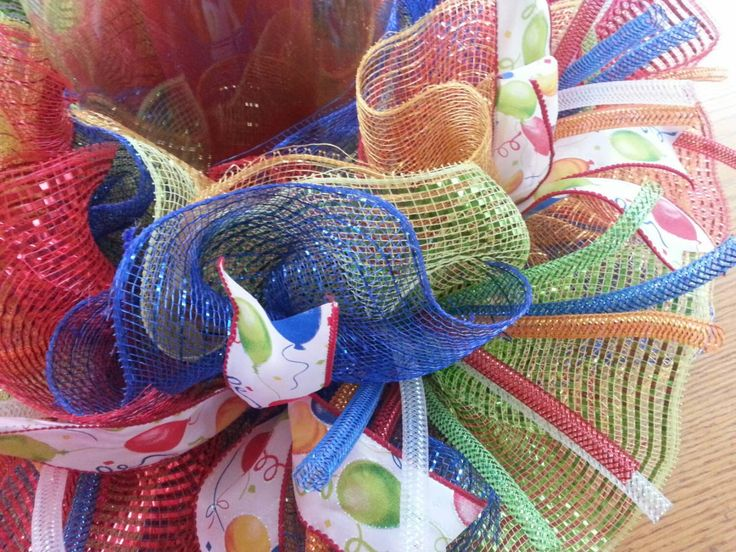 This is a fun way to decorate your table for birthday celebrations all throughout the year! This could also be a great gift for a teacher for the classroom on birthday days! Ive used the bright primary colors of red, royal blue, yellow and then lime green. There are balloon ribbons added in and sprouts of mesh tubing to look like sparklers! So fun & special! Ive pictured it with a pillar candle and glass vase but a battery candle could certainly be used as well. My centerpieces simply sli...