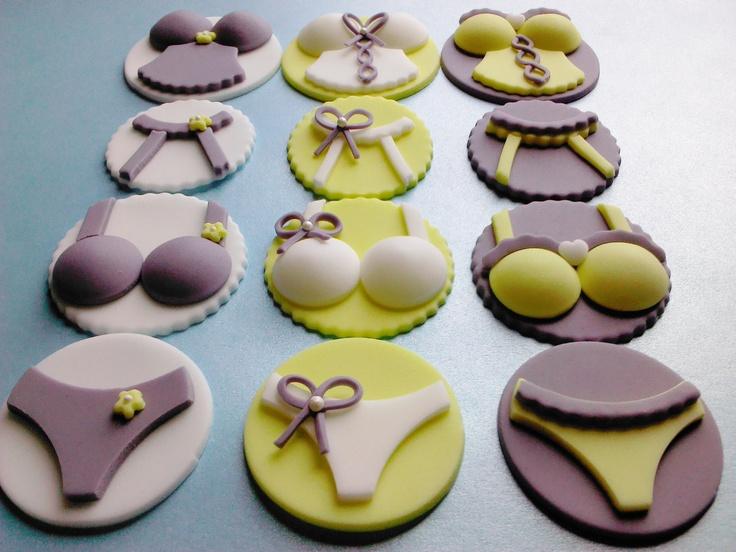 Ooh La Lingerie - Pick Your Pieces, Edible Fondant Cupcake Toppers. $21.00, via Etsy.