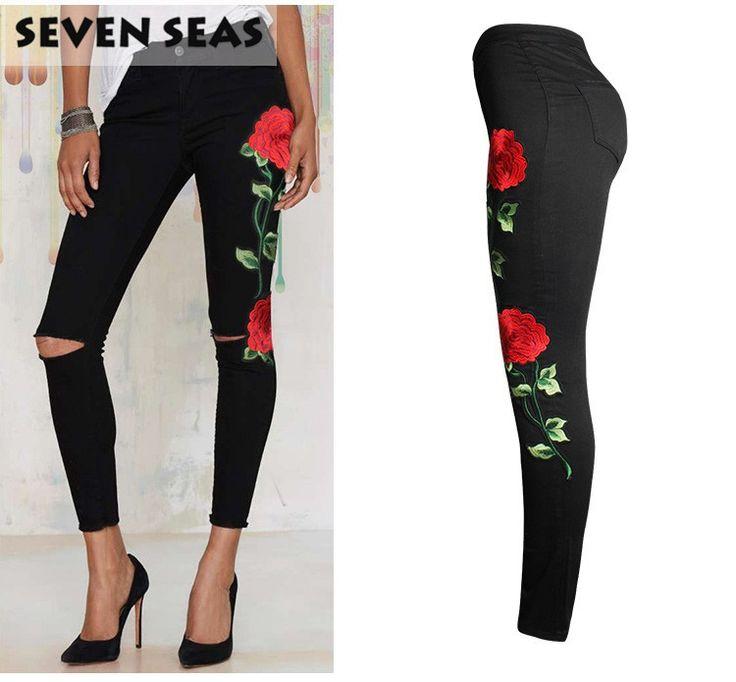 2017 Nieuwe Mode 3D Rose Geborduurde Black Ripped Jeans Vrouwen Hoge Taille Dames Skinny Jean Slim Femme plus size