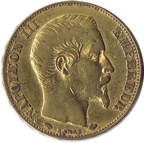 Moneda de oro 20 francos Francia 1857 Napoleón III