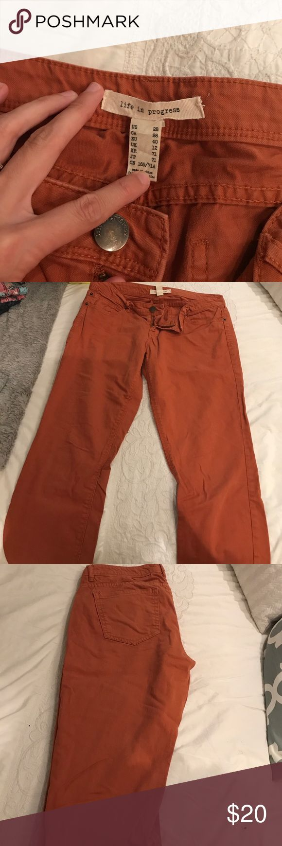 Burnt orange pants Burnt orange pants. Bought for UT game, only worn twice. life in progress Pants Skinny