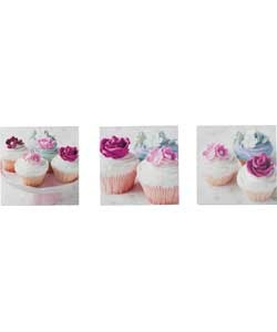 Vintage Cupcakes Canvas - Set of 3.