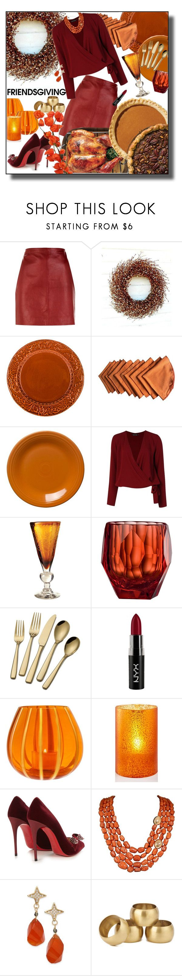 """Friendsgiving"" by marionmeyer ❤ liked on Polyvore featuring Sandro, Boohoo, Jan Barboglio, Mario Luca Giusti, NYX, The Merchant Of Venice, Holiday Lane, Christian Louboutin, Paul & Pitü Naturally and NKUKU"