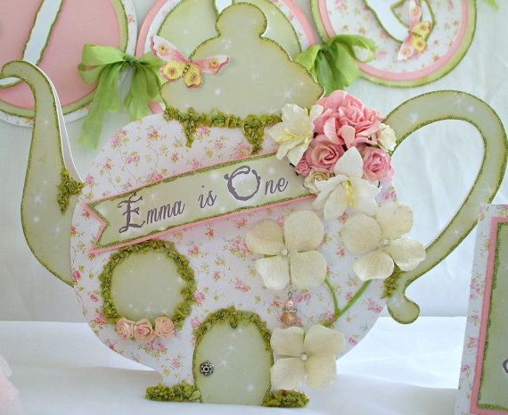 Shabby Chic Birthday Party  Fairy Tea Pot by MyBellaBirthdays, $48.00