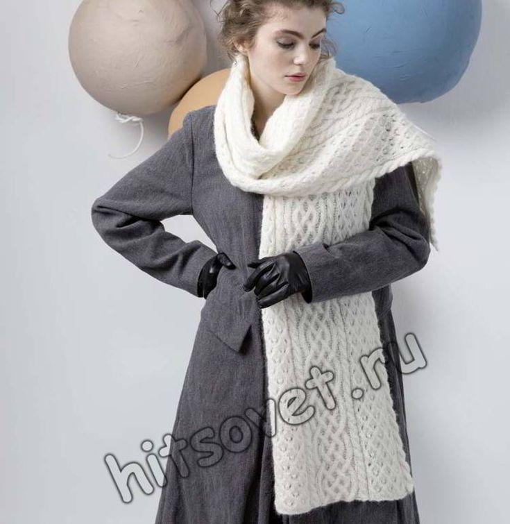 Вязаный шарф спицами, фото.