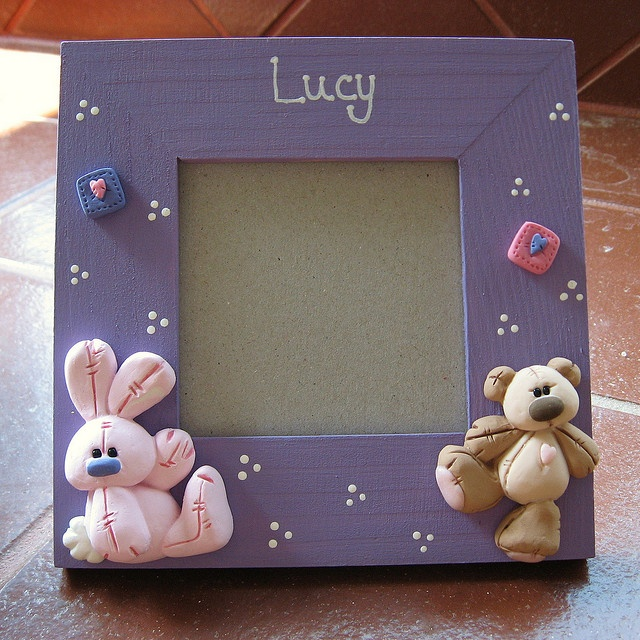 *POLYMER CLAY ~ Baby girl picture frame by Clayin Around, via Flickr