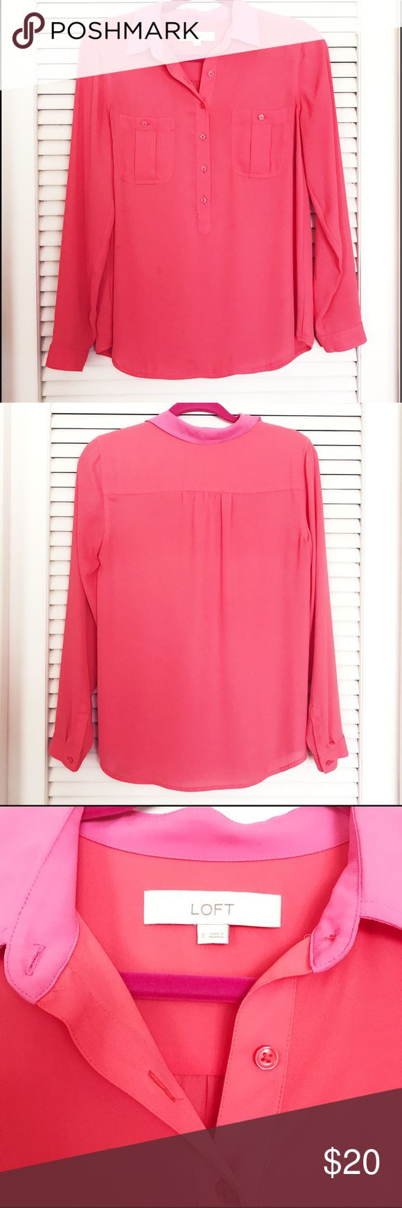 LOFT Coral Blouse Lightweight orange button up blouse with hot pink collar - like brand new condition! Great for the office or casual with jeans! LOFT Tops Button Down Shirts