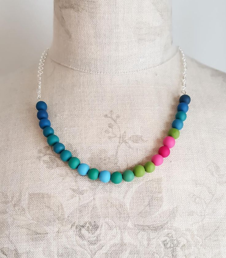 Colourful Necklace made from Polymer Clay Beads by Clare Lloyd Jewellery http://www.colour-designs.co.uk/