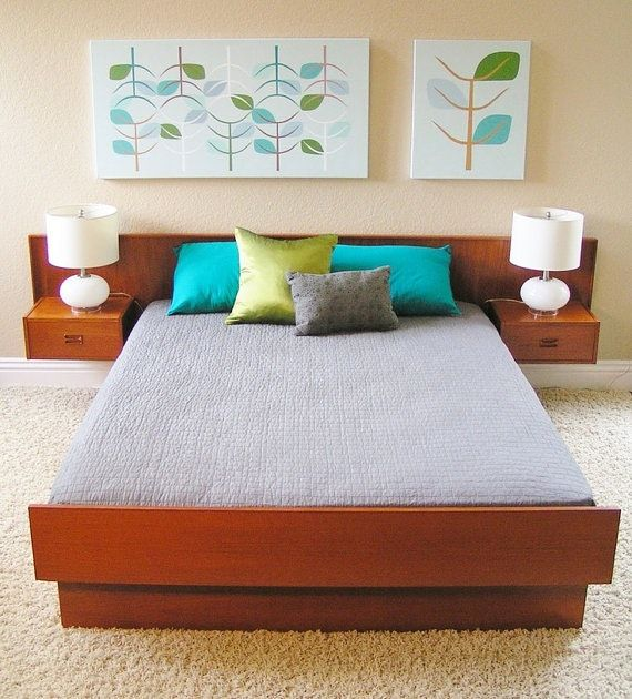 Mid Century Modern Teak Queen size platform / floating bed made in Canada. This listing is for a Queen size bed complete with extra long headboard, floating nightstands and entire bed frame as well...
