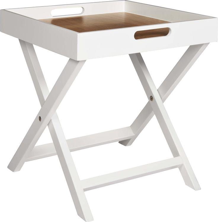 Oken hvitlakkert brettbord med sammenleggbart understell og brettbunn i eik. Dimensjoner: B40 x D40 x H44cm. Kr. 400,-