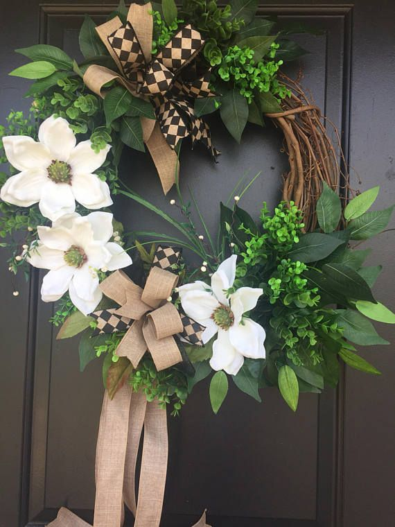 Magnolia Wreath Boxwood Wreath Grapevine Wreath Year Round Door