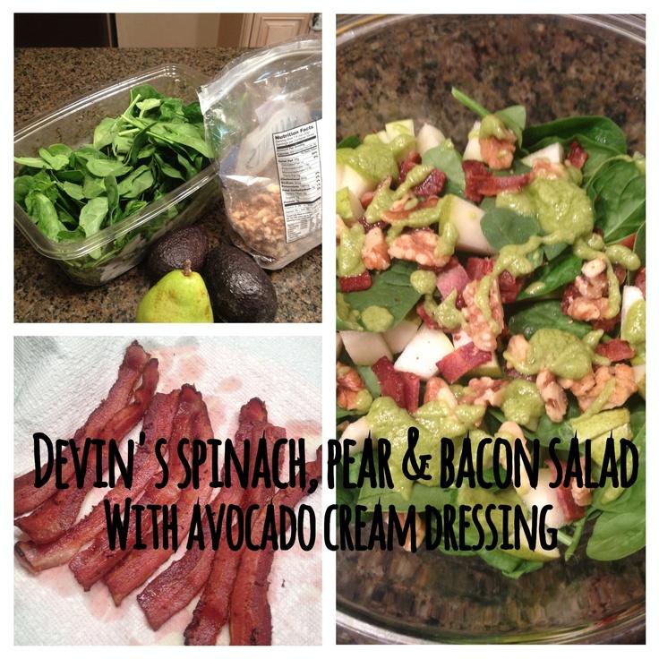 Paleo spinach, pear & bacon salad with creamy avocado dressing. (Salad ...
