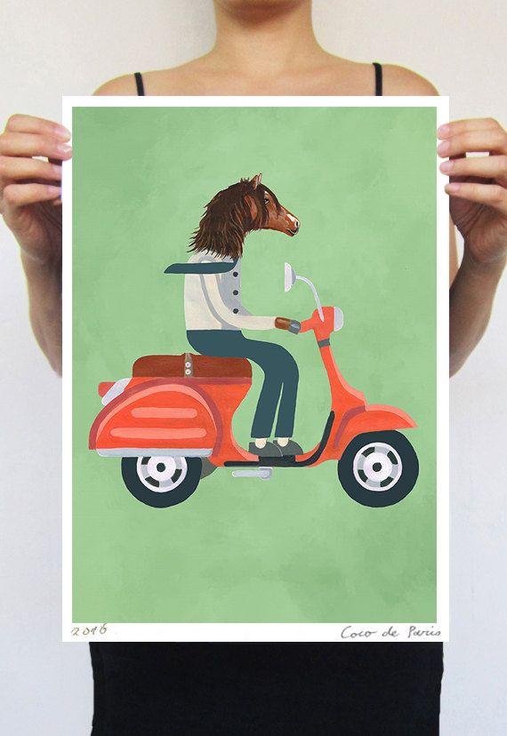 Paard kunst, decor van het paard, paard Poster paard Print, digitale paard kunst, originele illustratie, paard muur opknoping, paard Wall Decor