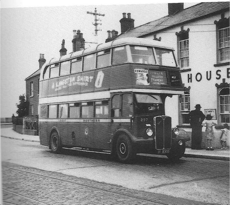 Howth - Photo shows 1948 Park Royal-framed GNR Dundalk-built, AEC Regent no.297, at the East Pier terminus, with tram lines still in place.