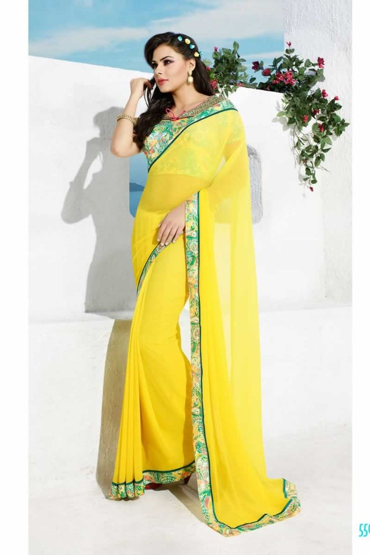 buy saree online Yellow Colour Georgette Printed Party Wear Saree Buy Saree online - Buy Sarees online