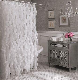 Cascade Vertical Ruffled Shower Curtain, by Lorraine