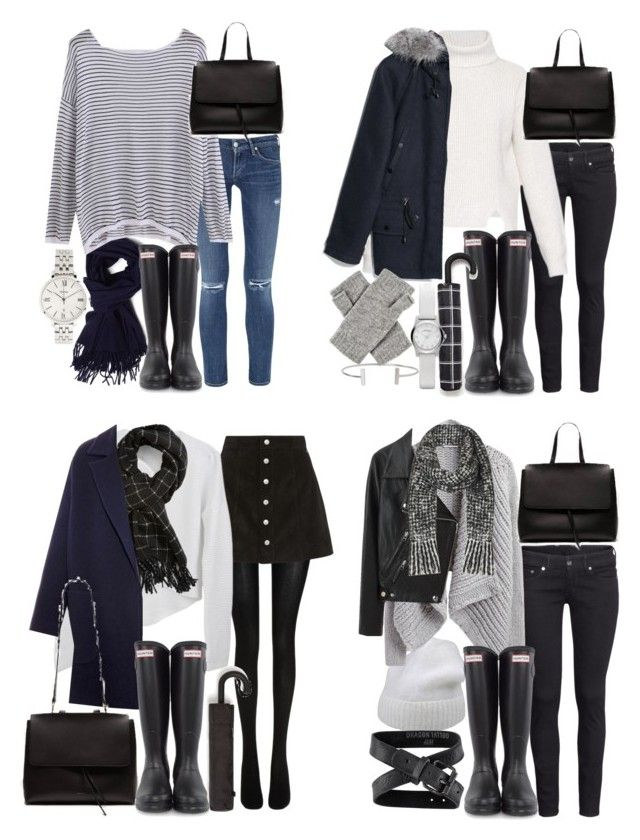 """""""how to style hunter rain boots"""" by florencia95 ❤ liked on Polyvore featuring Citizens of Humanity, Acne Studios, H&M, Hunter, FOSSIL, Proenza Schouler, MANGO, Zara, Wolford and Marc by Marc Jacobs"""