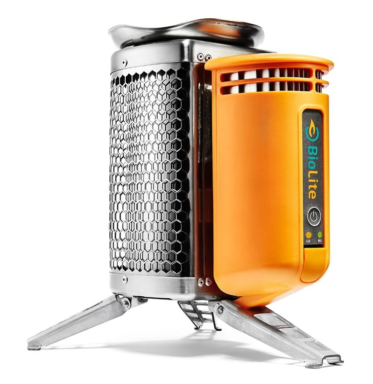 BioLite CampStove. Forget the fuel. Charge your gadgets. Uses small twigs for fuel.
