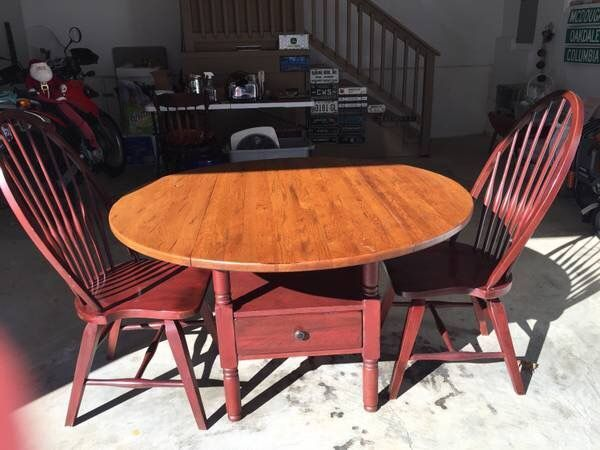 Broyhill Attic Heirlooms Petite Drop Leaf Table Warm Oak Stain Tabletop Red Stain Base With Drawer 2 Windsor Side Furniture Oak Table Heirloom Furniture
