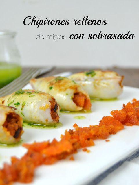 Chipirones rellenos de migas con sobrasada / stuffed squid whit bread and spicy sausage