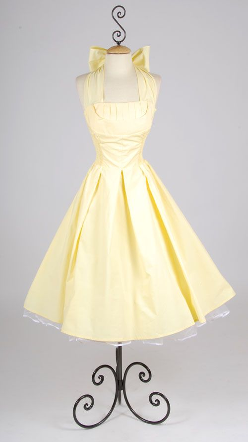 Flirty yellow cotton halter 50 39 s style swing dress xs to for Vintage pin up wedding dresses