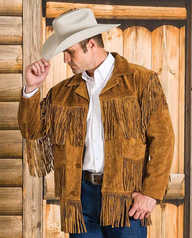 Liberty Wear Men 39 S Tobacco Suede Fringe Western Jacket Rugged Rustic Western Gifts For Cowboys