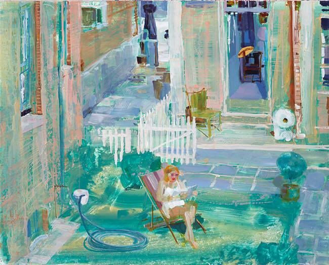 'Woman in Yard Reading the Paper from Rear Window' - Angela Dufresne /2008