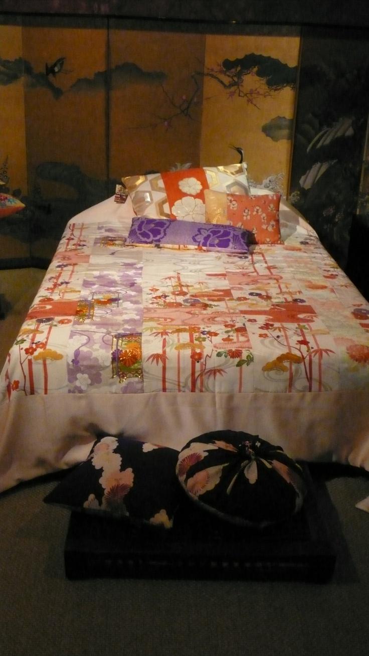 bedspread from vintage kimono