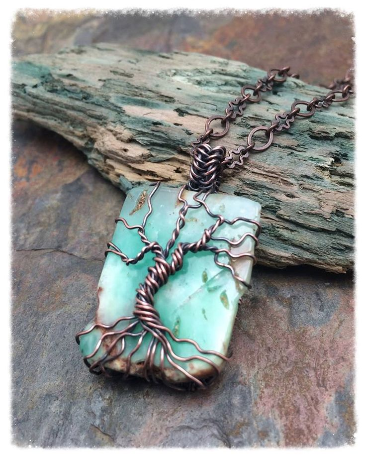 Genuine Chrysoprase Gemstone Tree of Life Copper Wire Wrapped Necklace by MartaWeaverJewelry on Etsy