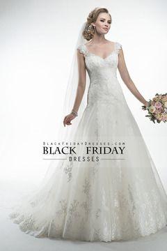 2014 V Romántico Cuello gota vestido de novia de la cintura una línea con apliques de tul USD 249.99 BFPDQHQJE8 - BlackFridayDresses.com