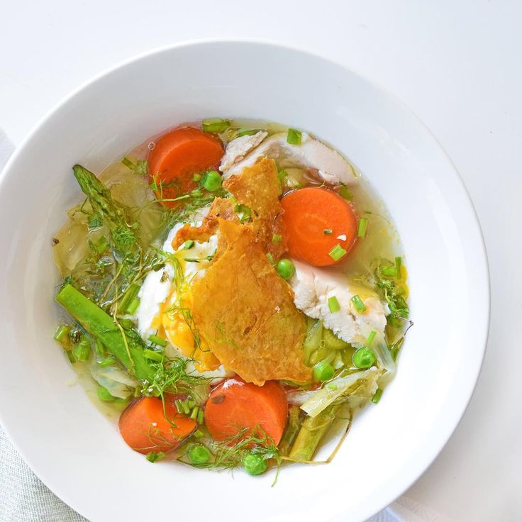 On the #simpliciouschallenge menu tonight: Pretty Spring Pot Au Feu (a whole cooked chicken in broth - p 216 of #simplicious) topped with a poached egg and crispy Chicken Crackle skin (oh my god!!! ). I added celery and chives to the chicken to accompany the spring veg: leek, carrot, fennel, asparagus and peas. Eggs were poached in the stock, and skin removed from the cooked chicken to make the crackle (p 204). #simplicious