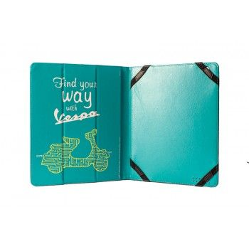 Practical cover for iPad in Pu leather decorated with design of Vespa comunication. Color of design is green and cover is yellow.